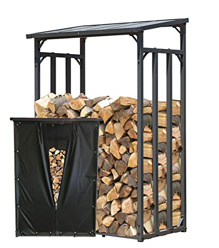 QUICK STAR Étagère en métal pour Bois de cheminée Anthracite 130 x 70 x 185 cm Distance Entre Les Bois 1.6 m3 avec protection contre les intempéries Noir