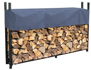 Quick-Star Étagère en métal pour Bois de cheminée avec Housse Gris Anthracite 200 x 25 x 115 cm Épaisseur 0,8 m
