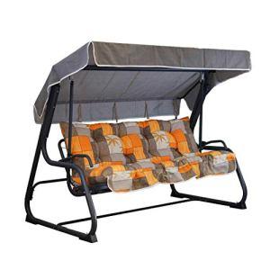 Tecnoweb Coussins pour balancelle 4 places, coussin de toit assorti de rechange inclus, 100 % fabriqué en Italie, idéal pour l'extérieur (jardin et cours) – Cadre non inclus Fantasia Tortora Arancio