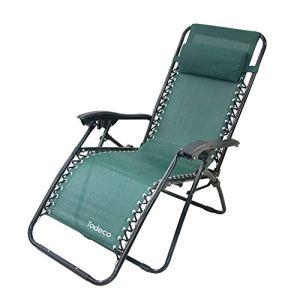 Todeco – Chaise Longue Inclinable, Transat en Textilène de Jardin – Charge maximale: 100 kg – Matériau: Textilène – 165 x 112 x 65 cm, Vert, Avec coussin
