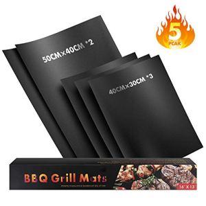 WayEee Tapis de Cuisson Barbecue Feuille Cuisson Silicone Set de 5 Tapis Barbecue 50 × 40cm (2) Tapis de Cuisson 40 × 30cm (3) Papier Cuisson Réutilisable 100% Anti-adhérent