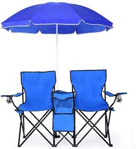WYFDM Chaise De Camping Pliante avec Parasol/Portable Chaise De Pêche avec Accoudoir Et Porte-Gobelet pour Randonnée Barbecue Pique-Nique Plage Fauteuil De Relaxation