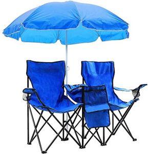 WYFDM Extérieur Portable Chaise Pliante 2 Places avec Amovible Parasol Bonne pour activités de Plein air telles Que la pêche ou Prendre Le Soleil