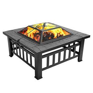xxz Table carrée de Barbecue de Fosse à Glace en métal, Foyer extérieur Multifonctionnel avec Pare-étincelles, pour Camping Pique-Nique feu de Joie arrière-Cour terrasse Patio
