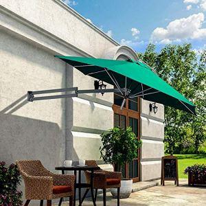 Yuany Parapluies Mural, économisez de l'espace, Patio, Parasol inclinable pour Jardin extérieur, Poteau en Aluminium et oslash;8ft / 250cm