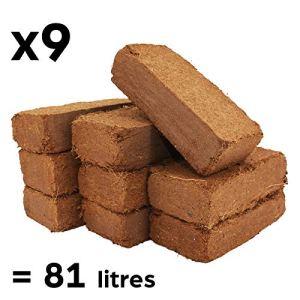 9X Blocs Coco Naturel 100% Fibre Pure | Substrat de Noix de Coco pour Terrarium | Terre pour Fleurs | Terreau pour Semi et Plantation | Aucun additif de fertilisant, pH Neutre