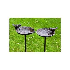 Abreuvoir pour oiseaux, bain à oiseau sur tige Jardin, en fonte, 2sortes, 1pièce, 20cm x 14cm x 98cm