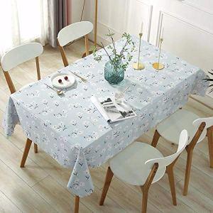 Ahuike Nappe pour Table Ronde Rectangulaire ou Carrée PU Home Simple pour Un Mariage Un Restaurant Une Fête Tissu Bleu Clair 100×160cm