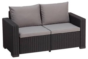 ALLIBERT California Canapé Lounge, 2 Places 141 x 68 x 72 cm Graphit/Panama Cool Grey