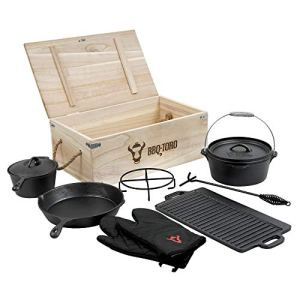 BBQ-Toro 8 pieces Dutch Oven SET dans une boite de bois I faitout en fonte marmite déja cuit,cocotte,casserole,gants etc.