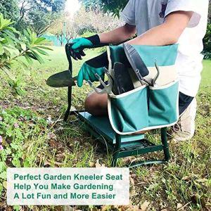 Besthls Banc de jardin pliable et robuste avec grande poche à outils et coussin de genoux en EVA doux pour les amateurs de jardinage