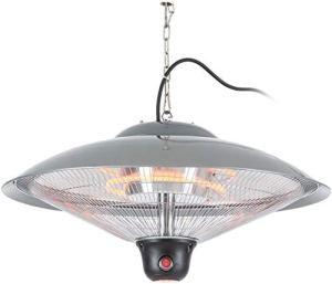 blumfeldt Heizsporn – Chauffage de Plafond, pour intérieur et extérieur, 3 Niveaux de Chauffage, Puissance de 2000 W, Réflecteur de 60,5 cm, Éclairage LED, Argent