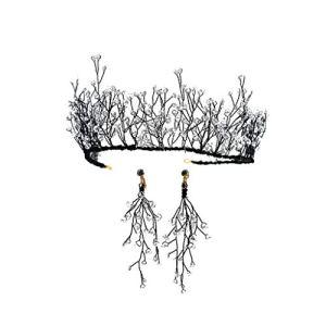 % Couronne de Fleurs Fleur Couronne De Cheveux Ornement Couronne Cristal À La Main Princesse Noire Couronne Anniversaire Accessoires De Cheveux De Mariée Mariage Coiffe Femmes Fleur Tête