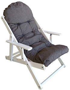 Fauteuil chaise chaise longue relax 3positions en bois pliable coussin rembourré H 100cm couleur comme sur la photo CUBA