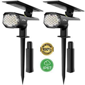 LITOM 【2 Pack 30 LED】 Spot Solaire Extérieur, Lampes Solaires Etanche IP67 Projecteur Solaire Réglable avec Panneau Solaire 180° Eclairage Extérieur Solaire pour Jardin, Extérieur, Chemin, Allée