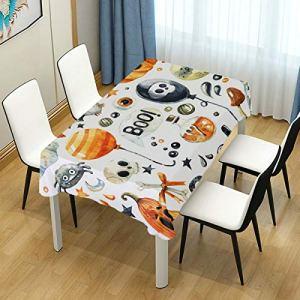 Nappe de table en forme de citrouille Happy Halloween chauve-souris 152 x 120 cm pour salle à manger Décoration de table pour cuisine fête patio intérieur extérieur 152 x 304 cm