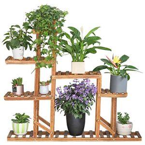 unho Porte Plante Bois, Étagère Plante avec 8 Tablettes, Support Pot de Fleurs Intérieur Extérieur, Décoration Parfait pour Jardin Balcon Terrasse – 115x97x25cm