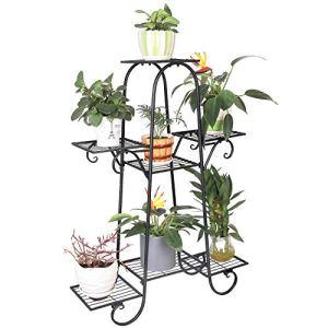 unho Porte Plante Fer Forgé, Étagère à Fleurs de 7 Niveaux, Escalier pour Plantes Fleurs Duable, Idéal pour Maison Balcon Jardin Charge Max 70kg – 66 x 22 x 102cm