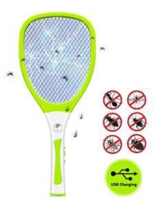 Urslif Raquette Anti Moustique Electrique Rechargeable Insecticide Anti-Insectes Débarrasser Mouches, Guêpes, Insectes Volants Chargement USB avec Éclairage LED