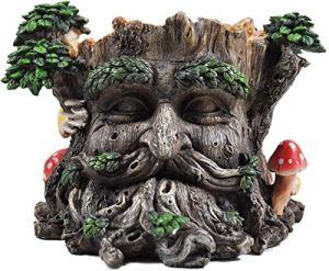 Arbre Ent visage support pour pot de fleurs Greenman décoratifs Jardin Myth Sculpture Pot de fleurs H15cm