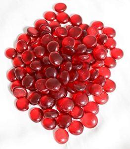 ARSUK Galets décoratifs en verre, perles de pierre arrondies, gemmes (200pcs / 1kg cailloux rouges)