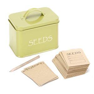 Boîte de rangement Katai verte en acier pour organiser les semences. Boîte de semences compacte avec couvercle, complète avec séparateurs mensuels, 20 enveloppes et un crayon.