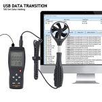Brrnoo Compteur de Vent numérique de testeur de débit d'air, jauge de Vitesse du Vent de Connexion USB, pour l'extérieur