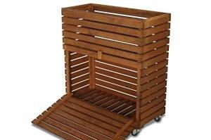 Coffres en bois marron Jouets Outils boîte de rangement, lit surélevé, MultiBox W72 x D32 x H80 cm