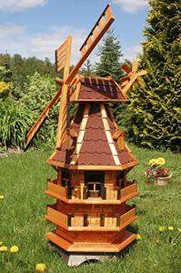 Deko-Shop-Hannusch Moulin à vent décoratif à 3 étages avec toit revêtu d'asphalte rouge et illuminations alimentées via énergie solaire 1,4 m