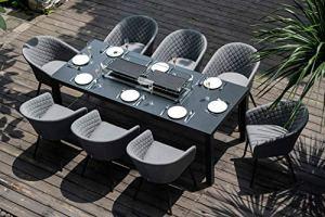 Fenetti Ambition Salon de jardin rectangulaire 8 places avec table à feu et flanelle