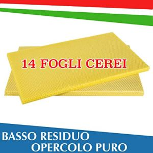 Feuilles de Cérei Apiculture de Nid (14 feuilles), Cire Italienne d'Opération, Faible Redisuo, Fabriqué en Italie, 100 % Matériau Approprié
