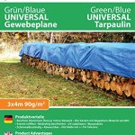 GardenMate Bâche de protection 3x4m à œillets UNIVERSAL VERT/BLEU 90g/m²