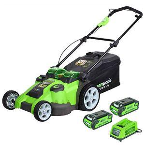 Greenworks Tondeuse à gazon sans fil sur batterie avec doubles lames 49cm 40V Lithium-ion avec 2 batteries 2Ah et chargeur – 2500207UC