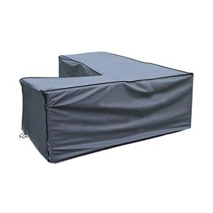 Housse de protection Canapé d'Angle | 235 x 235 x 70/100 cm (L x L x H) | Gris | Résistant à L'eau | SORARA | Polyester & Revêtement PU | Pour Jardin, Terrasse, Meubles | Qualité