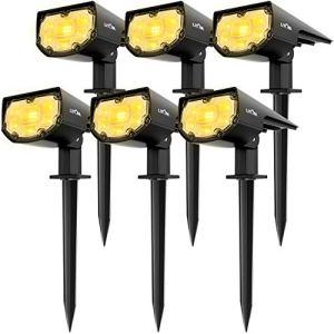 LITOM 【6 Pack 12 LED Spot Solaire Extérieur, Blanc Chaud Lampes Solaires Etanche IP67 Projecteur Solaire Réglable avec Panneau Solaire 180° Eclairage Extérieur Solaire pour Jardin, Chemin, Allé
