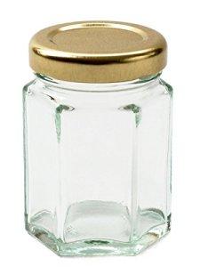 Nutley's Lot de 6 bocaux à confiture hexagonaux en verre 110 ml