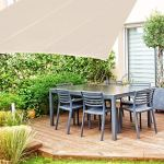 relaxdays, beige Voile d'ombrage triangle diffuseur d'ombre protection soleil balcon jardin UV 5x5x5 m toile imperméable, 5 x 5 x 5 m