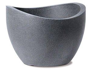 Scheurich 53381 250/50 Wave Globe Pot de Fleurs Plastique Granit Noir 50 x 50 x 37 cm