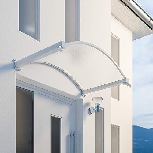 Schulte 4250820201149 Auvent voûté Basic, marquise de porte d'entrée en polycarbonate transparent, fixation blanche, 160×90 cm