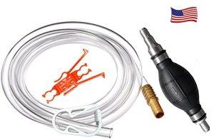 Siphonner Pro – essence universelle , huile, eau – 3,8 litres par minute avec 2,44 mètres de tuyau de 12,7 diamètre. Convient aussi autre tuyau , toute longueur – Laiton Poids et Hose Extender