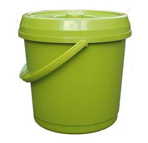 S&MC Homeware Seau en Plastique avec Couvercle Vert 14L L Poignée de Transport idéal pour Baignoire/Seau de graines/Aliments pour Animaux/Oiseaux