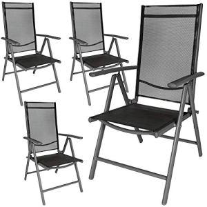 TecTake Lot de aluminium chaises de jardin pliante avec accoudoir – diverses couleurs et quantités au choix – (Anthracite | 4 chaises | no. 401634)