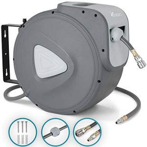TRESKO® Enrouleur automatique de Tuyau à air comprimé 20m   Connexion 1/4″   Dévidoir Tuyau Automatique Mural