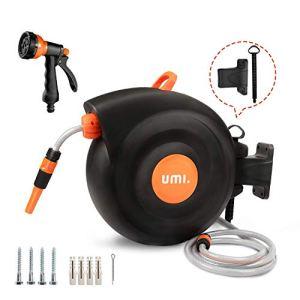 Umi. by Amazon- Enrouleur Tuyau Arrosage,25+2m Dévidoir Automatique, Pivotant à 180 degré, Modes de pulvérisation 9-en-1