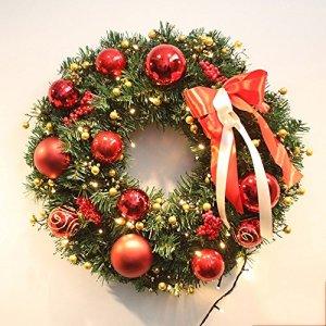 50cm décoration de couronne de Noël ornements de porte en rotin de Noël sans lumières ( Couleur : Rouge , taille : 60 cm )