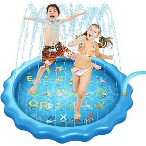Arrosez le tapis d'arrosage de l'eau de bébé pour des enfants, amélioré 68 'jouets extérieurs de l'eau d'été d'été pataugeant le tapis de jeu d'éclaboussure de piscine pour le bébé d'enfant en bas âge
