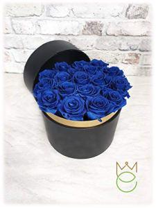 Boîte à cylindre noir avec roses stabilisées de différentes couleurs Rose Blu