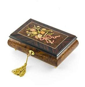 Boîte à musique classique avec motif nostalgique d'un bouquet floral attaché avec ruban rose – Plus de 400 choix de chansons – Pennies from Heaven