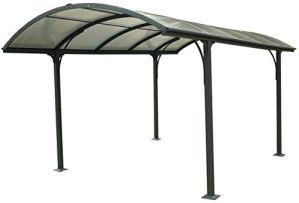 Carport aluminium toit 1/2 rond gris anthracite Variante Sans montage