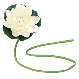 CLISPEED Eau Flottant Fleurs de Lotus avec Tige Réaliste Mousse Nénuphar Décoration Extérieure Ornement pour Jardin Koi Étang à Poissons Aquarium Piscine 17 Cm Blanc